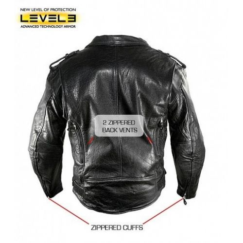 Mens Black Buffalo Leather Updated Pistol Pete Armored Classic Biker Jacket.